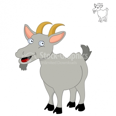 Vector image of grey cartoon funny goat