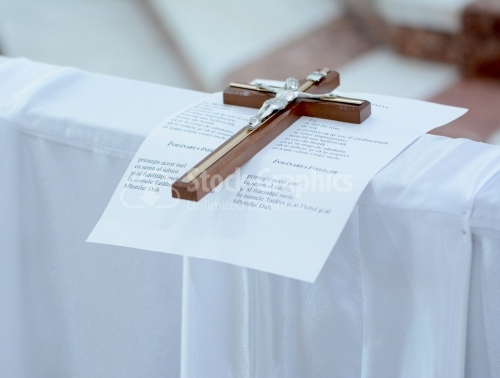A cross in the Catholic church and a vows under it