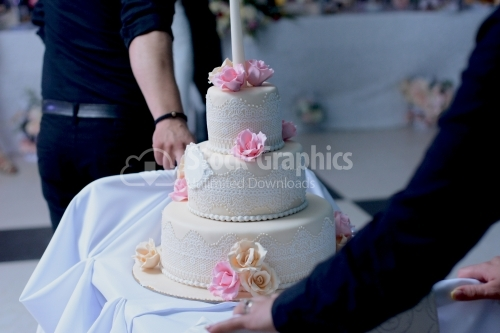 A multilevel white wedding cake with lace and pink and beige roses on top