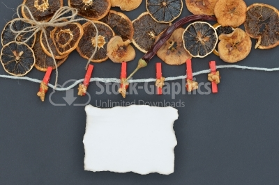 Abstract decoration with dried fruits and place for text