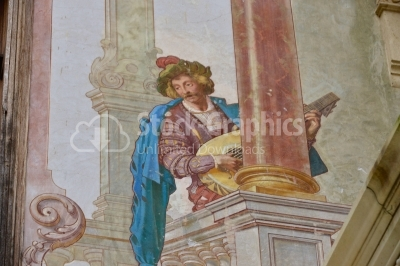 Allegoric frescos on the walls of interior courtyard of Peles ca