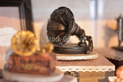 Ancient toy gramophone.