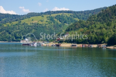 Artificial lake with small houses