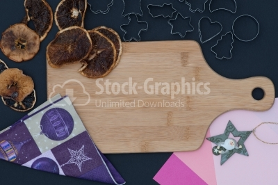 Baking background with dried fruits and christmas elements