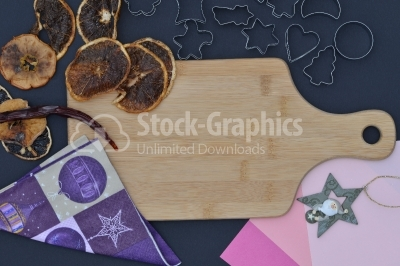 Baking background with dried fruits and kitchen tools