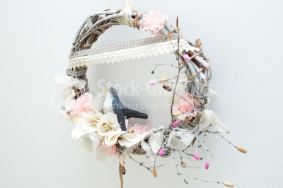 Bird on a wreath fashioned