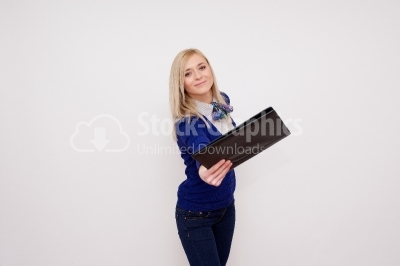 Blonde sharing ner notebook with you