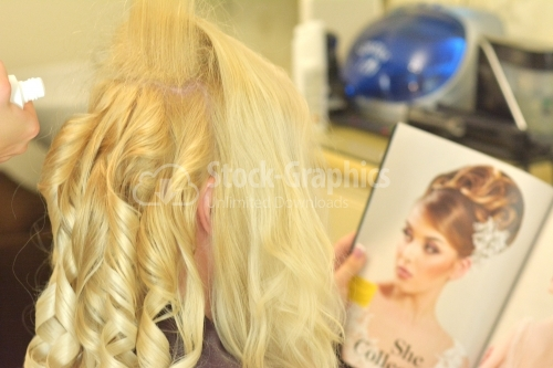 Blonde woman waiting in a beauty salon