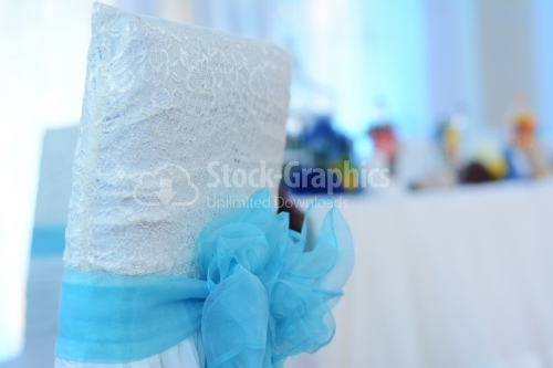 Blue bow for a wedding chair
