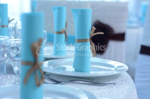 Blue rolls placed on white plates