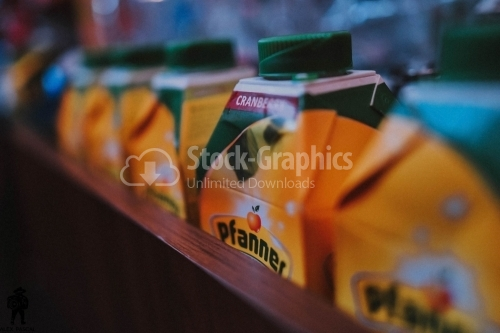 Boxes of juice on the shelf