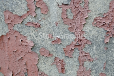 Brick Wall Peeling Paint - Stock Image