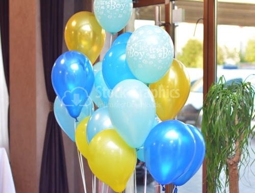 Bunch of yellow and blue balloons