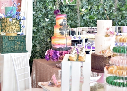 Candy bar. Many cakes. Cake with romantic theme