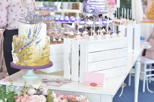 Candy bar. Table with different sweets for party