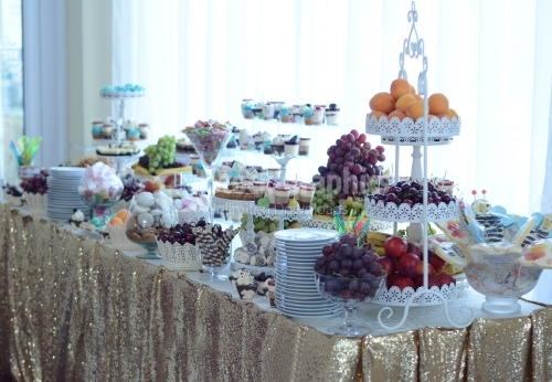 Candy bar. Table with sweets, candies, dessert. Candy bar