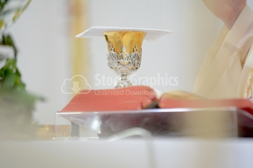 Chalice on the table in a Catholic church