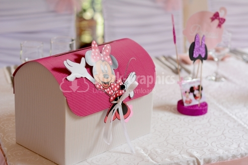 Christian baptism box for money. Boxes for gifts. Decorated with Minnie Mouse