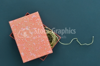 Christmas holiday gift box in spotted paper with gold inside