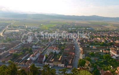 City Rasnov aerial view taken from the top of the fortress.