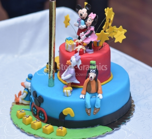 Colorful live cake and disney characters