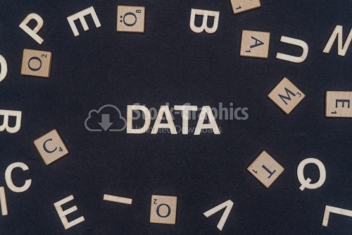 DATA word written on dark paper background. DATA text for your concepts
