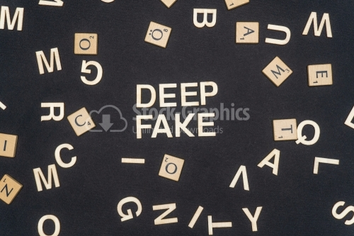 DEEP FAKE word written on dark paper background. DEEP FAKE text for your concepts