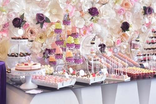 Delicious sweet buffet with cupcakes.