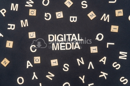 DIGITAL MEDIA word written on dark paper background. DIGITAL MEDIA text for your concepts