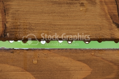Drops of dew on the plank of wood