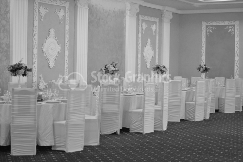 Elegant room for wedding with white decorations