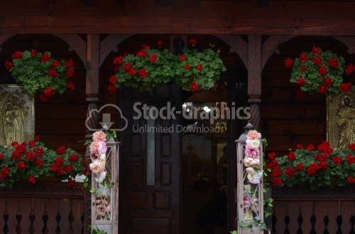 Entrance of an orthodox wooden sketch. Wooden church