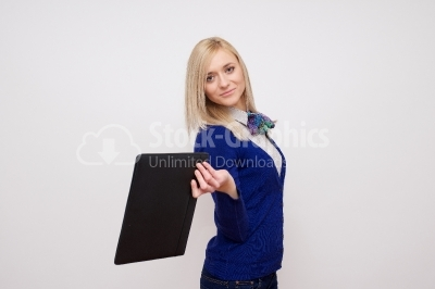 Excited blonde holding documents