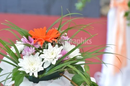 Flowers for wedding ceremony party