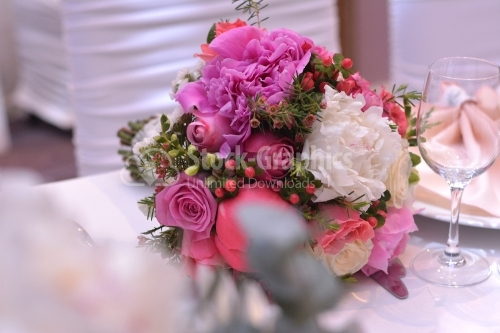 Flowers on a table for wedding party