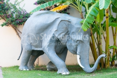 Focused stone elephant
