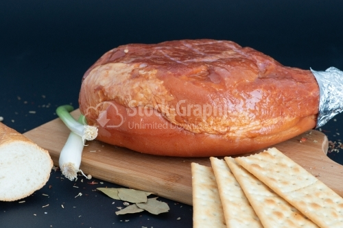 Food with ham, onion and bread