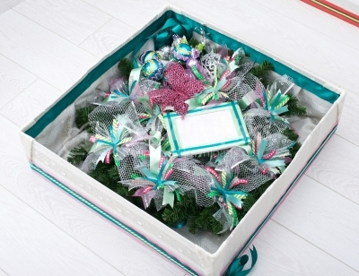 Gift box with christmas wreath