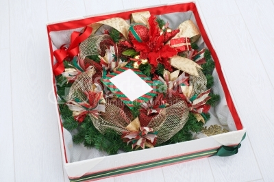 Gift box with christmas wreath inside
