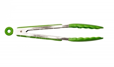 Green cooking tongs on a white background
