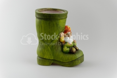 Green pottery boot image