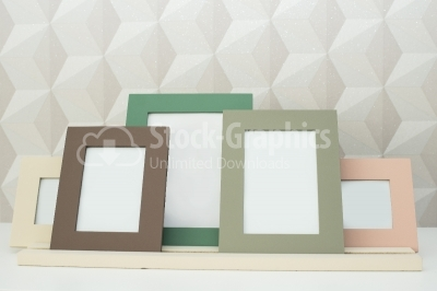 Group of blank picture frames