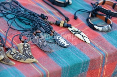 Hand made pendant necklaces in a local market