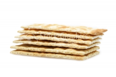 Image of saltine crackers on white background