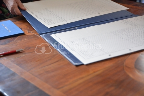 Italian documents on table