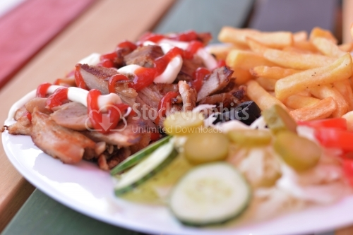 Kebab close up.