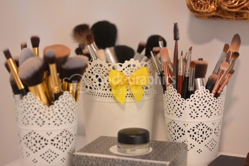 Makeup tools in a beauty saloon