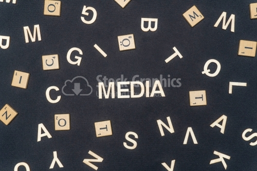 MEDIA word written on dark paper background. MEDIA text for your concepts