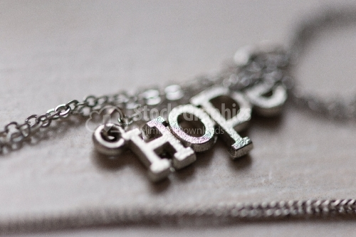 Metal text with hope