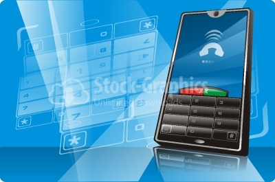Modern communication technology illustration with mobile phone a